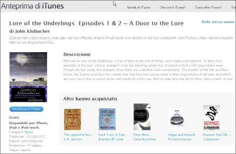 Lore of the Underlings on Italian iBooks -- Viva Italia!